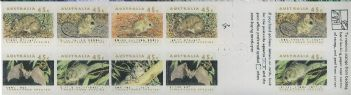 Aus SG1327qa Threatened Species Horizontal bands self-adhesive booklet pane - Koala reprint (SB78a)